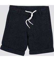 shorts i linne- och bomullsblandning - mörkblå