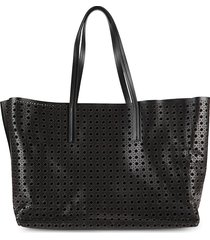 jeff wan women's perforated leather tote - black