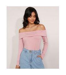 blusa básica ombro a ombro manga longa rosê