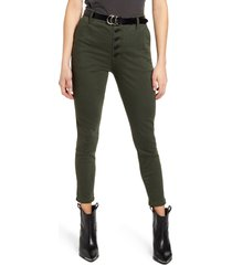 women's sts blue belted button fly high waist crop skinny jeans