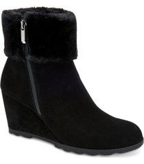 alfani women's step 'n flex oreena faux-fur-cuff wedge booties, created for macy's women's shoes