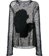 ann demeulemeester crocheted knit top - black