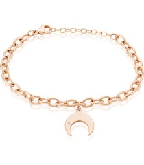 bracciale in acciaio rosato e strass con charm lunula per donna