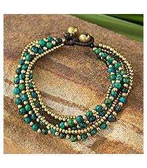 beaded brass bracelet, 'evergreen joy' (thailand)