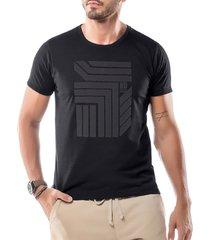 camiseta estampa flocada geométrico no stress preta - kanui