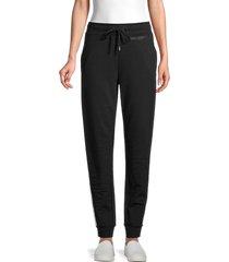 karl lagerfeld paris women's side-stripe cotton-blend pants - black - size l
