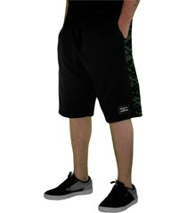 bermuda tecido skate eterno flex in camuflada preto/verde