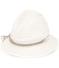 christian dior pre-owned trotter pattern fedora - white