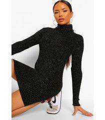 geribbelde gebreide glitter trui jurk met col, black