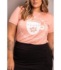 roupas plus size domenica solazzo t-shirts rosa - kanui