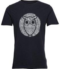 alder wave owl tee - gots/vegan t-shirts short-sleeved svart knowledge cotton apparel