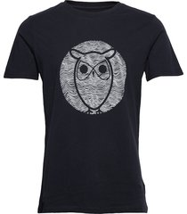 alder wave owl tee - gots/vegan t-shirts short-sleeved svart knowledge cotton apparel