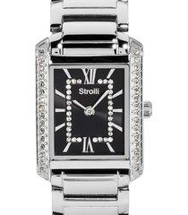westminster - orologio da polso solo tempo con cassa e cinturino in acciaio e quadrante nero con strass per donna