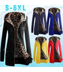 s 6xl plus size women's long sleeve fleece sweat zip hoodie leopard casual coat