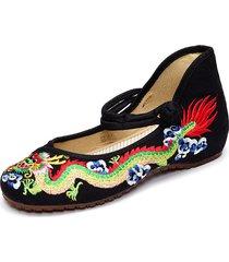 vintage scarpe mary janes di stile tradizionale cinese in ricamo di dragone