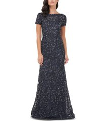 js collections textured embroidered gown