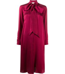 l'autre chose pussy-bow silk shirt dress - red