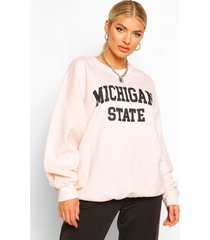 michigan slogan oversized washed sweatshirt, ecru