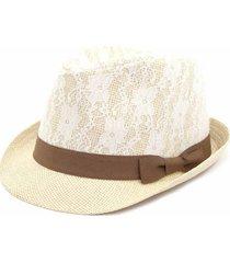 chapéu bijoulux estilo panamá com renda e laço marrom