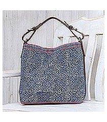 leather-accented cotton batik shoulder bag, 'hmong accent' (thailand)