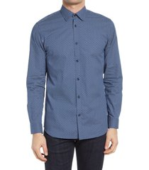 men's selected homme harper slim fit print button-up shirt, size medium - blue