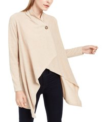 ny collection petite space-dye asymmetrical sweater