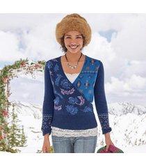 sundance catalog women's galaxy delight surplice sweater petite in midnight petite xl