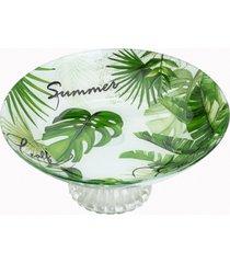 centro de mesa de vidro c/pé 26cm – linha leaves verde