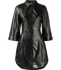 ganni press stud shirt dress - black