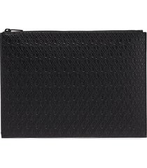 monogram embossed leather pouch