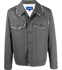 ader error long-sleeve button-fastening jacket - grey