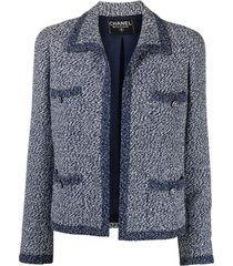 chanel pre-owned 1990s no-fastening woven jacket - blue