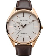 bering men's automatic multifunction stainless steel case calfskin strap
