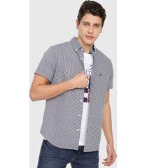 camisa azul navy-blanco nautica
