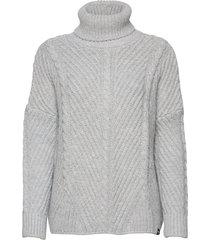 tori cable cape knit turtleneck coltrui grijs superdry