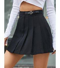 minifalda yoins diseño plisado negro