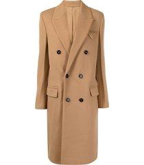 bottega veneta double-breasted mid-length coat - brown