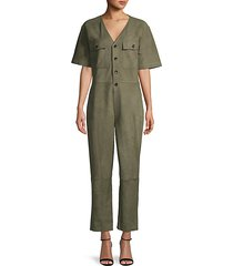 button-up suede jumpsuit