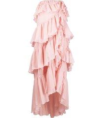 giambattista valli tiered-ruffle strapless gown - pink