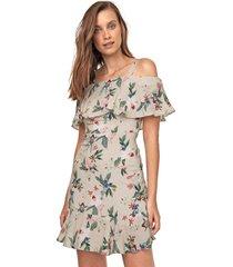 vestido ciganinha lunender curto floral bege/verde - bege - feminino - viscose - dafiti
