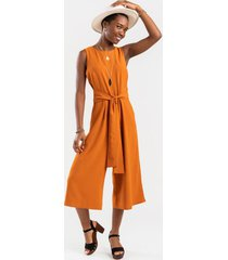 ideen front tie culottes jumpsuit - mustard