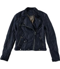 jacket leatherlook - turquoise by daan - navy