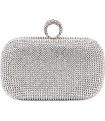 bolsa clutch liage brilho strass metal alça removível prata
