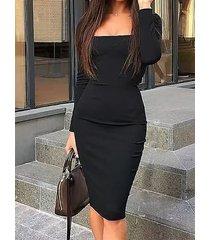 black square neck long sleeves bodycon midi dress