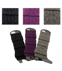 wavy round circle stripe braided leg warmers cable knit stitch warm knee new lot