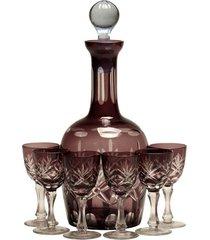 licoreira de vidro decorativa grapefruit com 6 taças