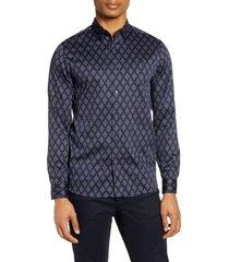 men's ted baker london diamond print slim fit button-up shirt