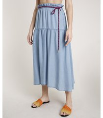 saia jeans feminina triya midi com cinto cadarço azul claro