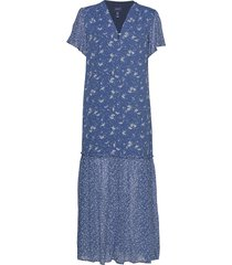 d2. mix print chiffon dress maxi dress galajurk blauw gant