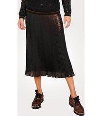 plisserad kjol mona svart::bronsfärgad